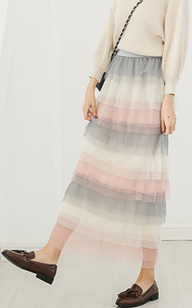 Pastel Colour Layered Tulle Mesh Long Skirt by Urban Mist