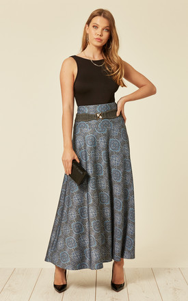 Blue Floral Paisley Skirt by De La Creme Fashions