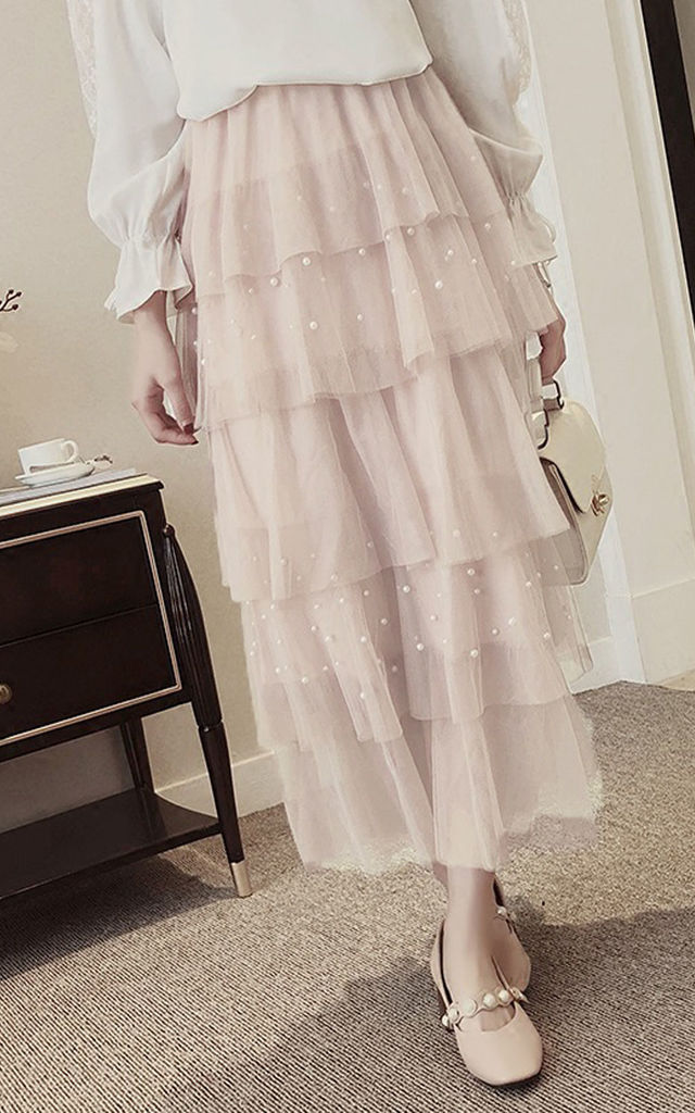 Light Baby Pink Ruffles Pearls Beading Mesh Tulle Long Skirt by Urban Mist