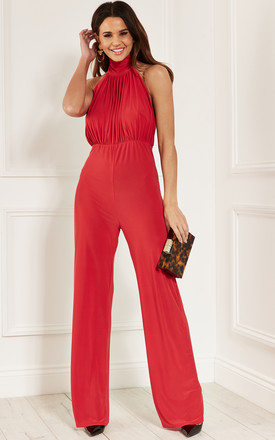 Red Halter Neck Ruched Backless Jumpsuit by Bella and Blue Product photo