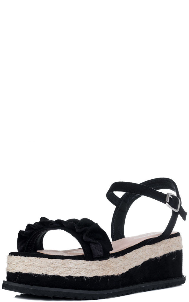 IZABELLA Platform Wedge Heel Sandals Shoes - Black Suede Style by SpyLoveBuy