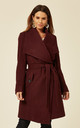 Beverley Wine Large Lapel Duster Coat by De La Creme Fashions