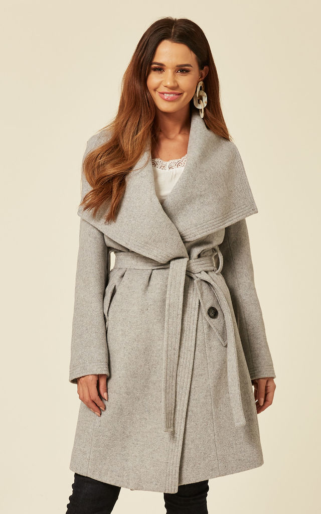 Beverley Silver Large Lapel Duster Coat by De La Creme Fashions