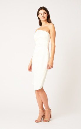 Meisha Ivory Strapless Satin Pencil Dress by Vesper247
