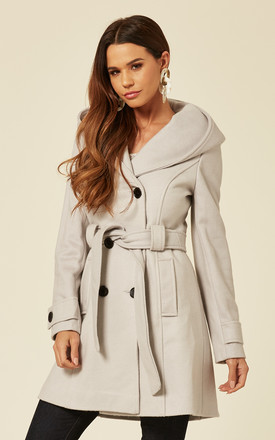 Samantha Silver Oversized Hooded Coat by De La Creme Fashions