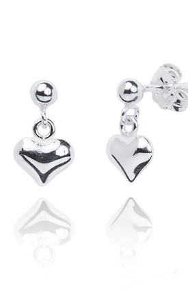 Sterling Silver Paris Heart Earring by Dollie Jewellery