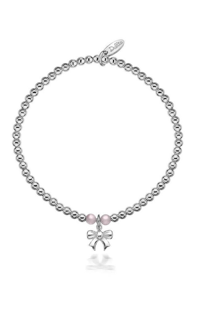 Sterling Silver Pink Taylor Bow Bracelet by Dollie Jewellery