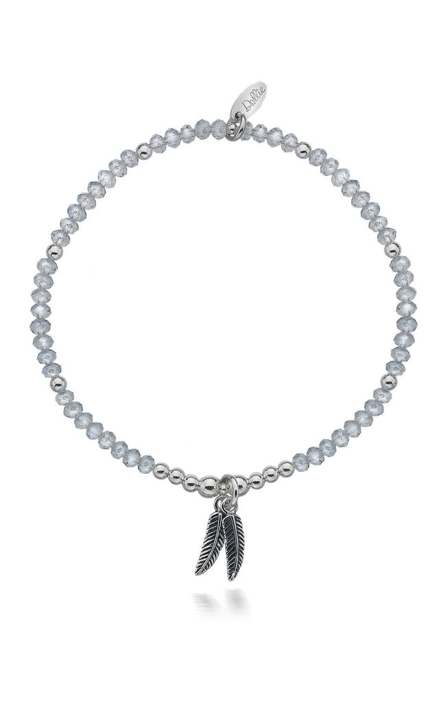 Sterling Silver Double Feather Shimmer Bracelet by Dollie Jewellery