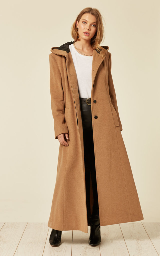 Clarissa Camel Oversized Hooded Long Coat by De La Creme Fashions