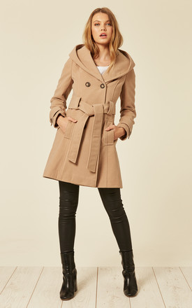 Samantha Camel Oversized Hooded Coat by De La Creme Fashions Product photo