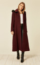 Chantelle Wine Faux Fur Trim Hooded Long Coat by De La Creme Fashions