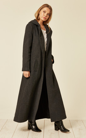 Clarissa Grey Oversized Hooded Long Coat by De La Creme Fashions