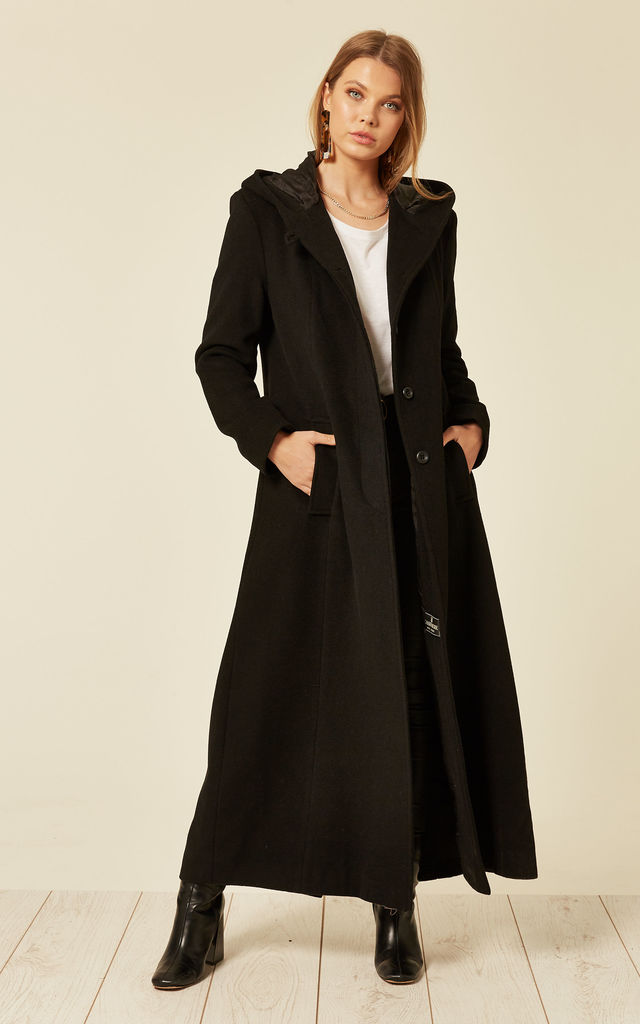 Clarissa Black Oversized Hooded Long Coat by De La Creme Fashions