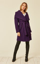 Beverley Purple Large Lapel Duster Coat by De La Creme Fashions