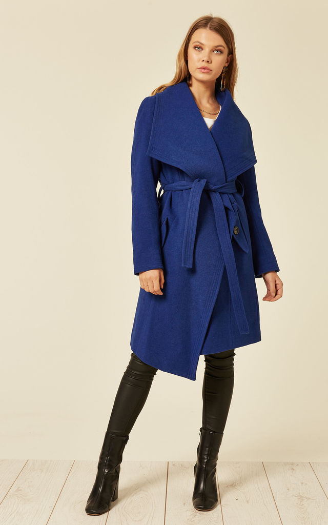 Beverley Blue Large Lapel Duster Coat by De La Creme Fashions