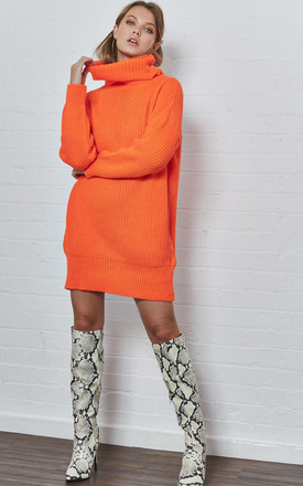 Orange Roll Neck Jumper Dress by India Gray Product photo