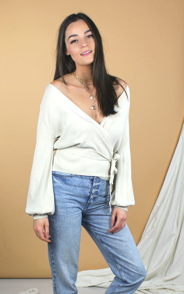 Cream Knit Wrap Top by HAUS OF DECK