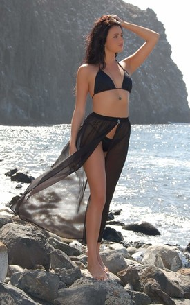 Mila Maxi Beach Skirt In Black by Natasha Kieran Product photo