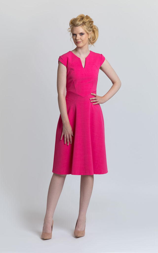 A Line Dress with Boatneck in Pink by JEVA FASHION