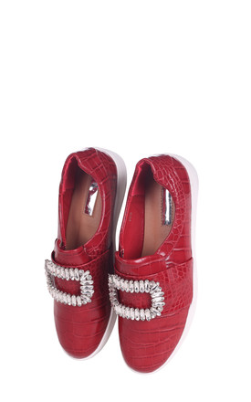Minnie Red Croc Slip On Skater with Diamante Embellishment by Linzi