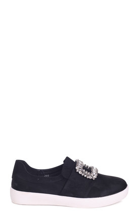 Minnie Black Suede Slip On Skater with Diamante Embellishment by Linzi