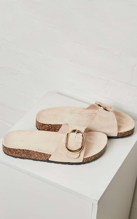 FANIA – Beige Suede Buckle Slider by Blue Vanilla