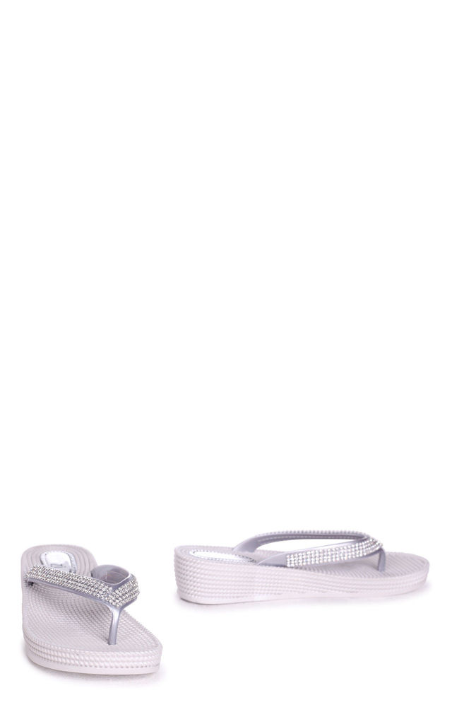 Kaia Silver Wedged Jelly Flip Flop With Diamante Embellished Strap by Linzi