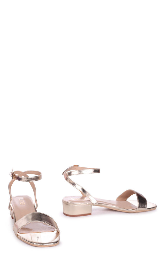 Paulina Gold Nappa Heeled Sandal With Crossover Open Back by Linzi