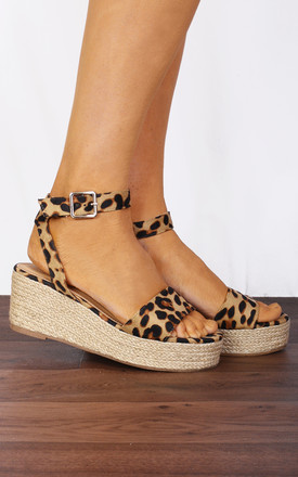 Leopard Animal Print Ankle Strap Peep Toes Canvas Wedged Platforms Wedges Strappy Sandals by Shoe Closet Product photo