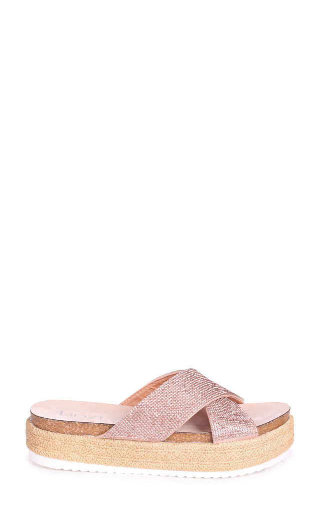 Rosa Rose Gold Slip On Flatform Slider With Diamante Crossover Front Strap by Linzi