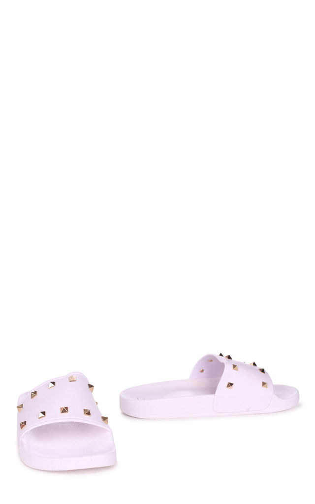 Martino White Slip On Slider With Studded Front Strap by Linzi