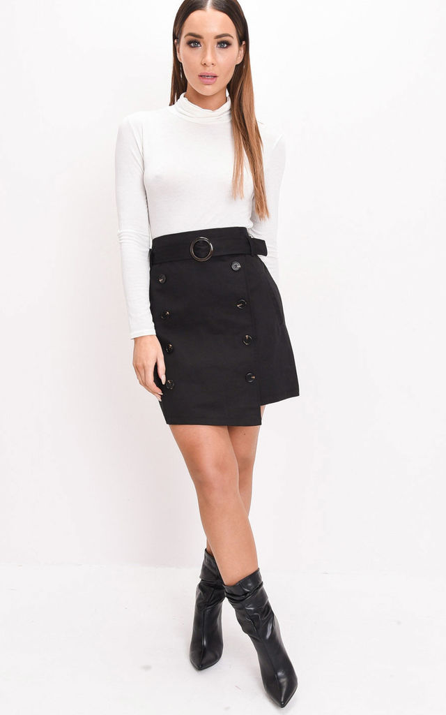 High waisted belted mini a line skirt black by LILY LULU FASHION