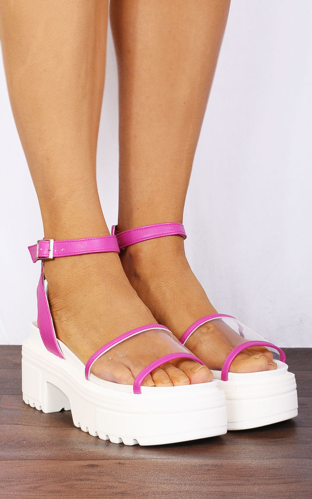 Fuchsia Pink Clear Perspex Chunky Ankle Strap Wedged Flatforms Platforms Wedges Strappy Sandals by Shoe Closet
