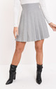 Pleated knit mini skater skirt grey by LILY LULU FASHION