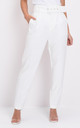 High waisted tailored belted trousers white by LILY LULU FASHION