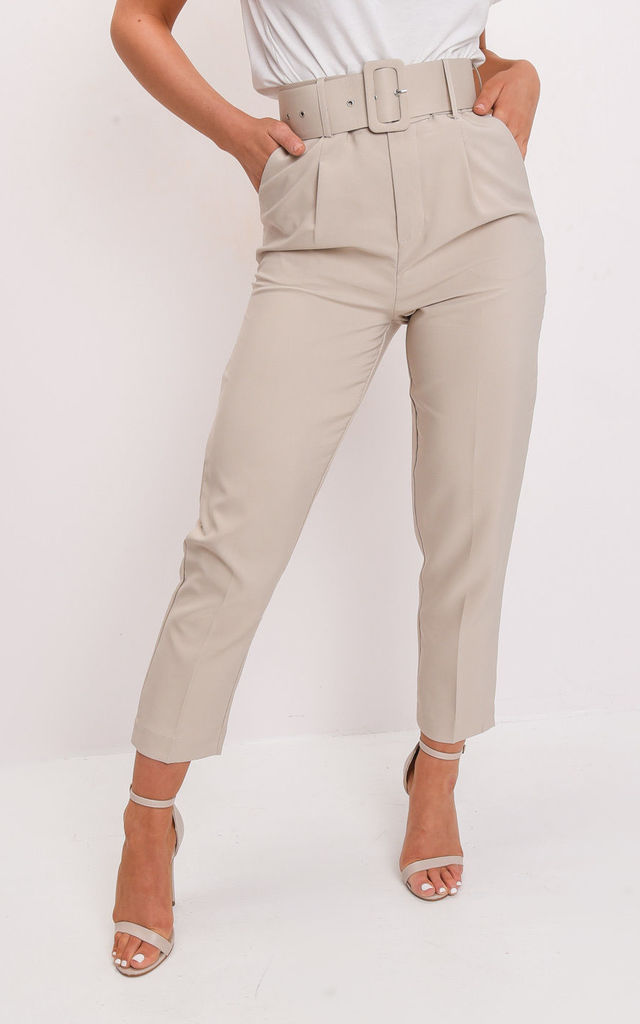 High waisted tailored belted trousers beige by LILY LULU FASHION