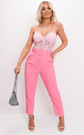 High waisted tailored belted trousers pink by LILY LULU FASHION