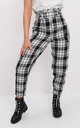 Check paperbag high waisted tailored trousers black by LILY LULU FASHION