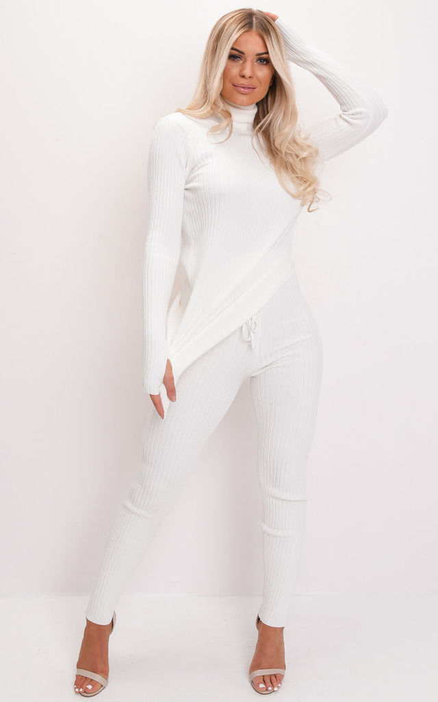 Knit roll neck loungewear co ord set white by LILY LULU FASHION