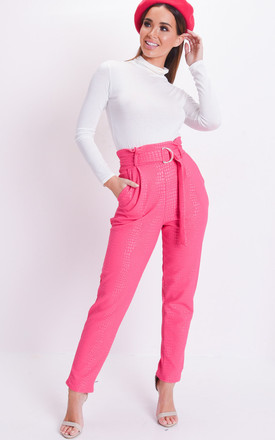 Croc animal print belted tapered trousers pink by LILY LULU FASHION