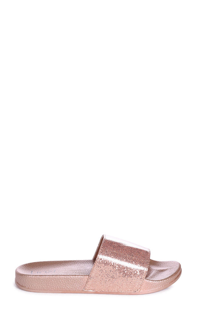 Shelby Rose Gold Slip On Style Slider With Shimmer Front Strap by Linzi