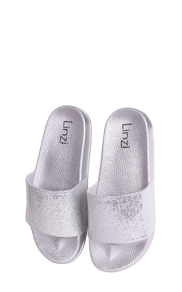 Shelby Silver Slip On Style Slider With Shimmer Front Strap by Linzi