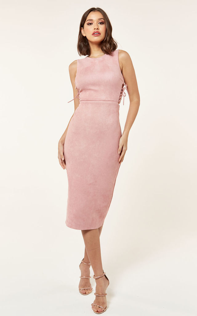 Suede Lace Up Midi Dress In Pink By The Girlcode