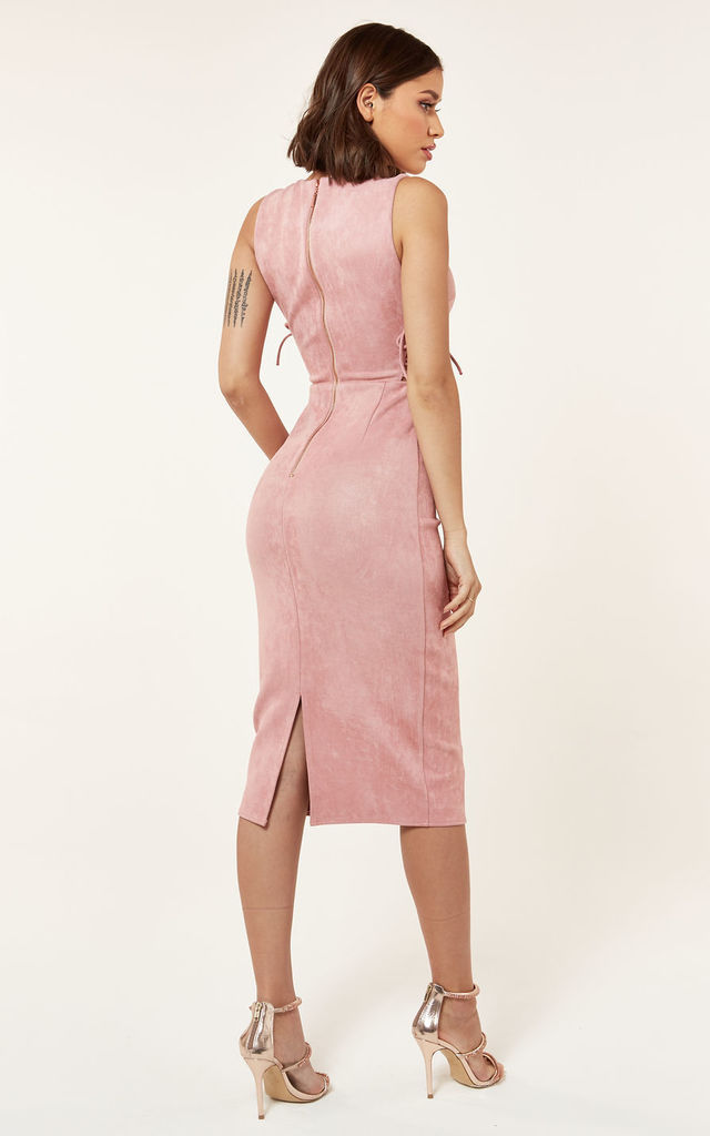 Suede Lace Up Midi Dress In Pink The Girlcode Silkfred