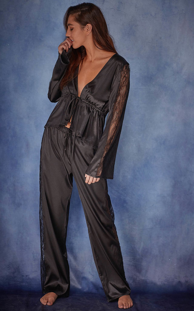 India Satin tie front PJ set by Wolf & Whistle