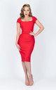Scoop Neck Summer Occasion Wedding Evening Midi Dress in Red by Zoe Vine