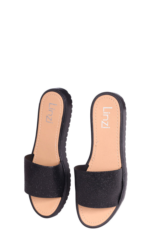 Jacey Black Glitter Slip On Jelly Slider by Linzi