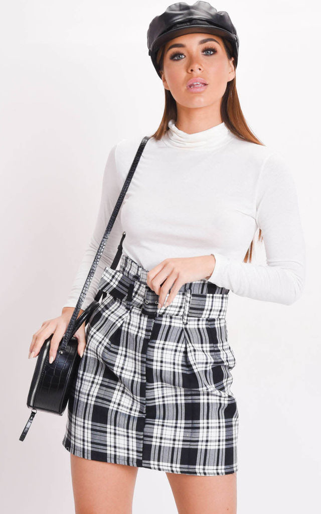 Check paperbag waist belted mini skirt black by LILY LULU FASHION