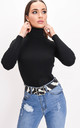 Roll neck ribbed knit jumper top black by LILY LULU FASHION