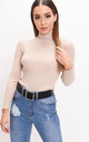 Roll neck ribbed knit jumper top beige by LILY LULU FASHION